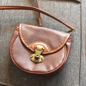 Brown leather like crossbody purse